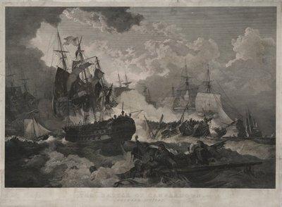 De Zeeslag bij Kamperduin op 11 oktober 1797. <br>; NL-HlmNHA_480_045151_G; Provinciale Atlas - Historieprenten NL-HlmNHA_480_045151_G