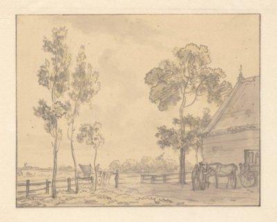 Herberg De Witte-Zwaan in de Heerhugowaard, naar Zuid-Scharwoude gezien, 1809. 1 topogr. tek.: penseel in grijs en groen. z.s. 155 x 197 mm; NL-HlmNHA_359_001476_K; Provinciale Atlas - Prenten en Tekeningen...