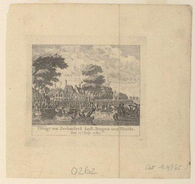 Gezicht vanaf het Singel op vertrekkende Amsterdamse soldaten naar Utrecht. Op het water liggen enkele schepen. Op de achtergrond de Handboog- of Garnalendoelen en het Bushuis           (Singel 421-423).;...