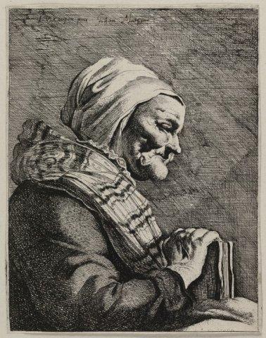 Portret van een oude vrouw met boek. <br> Gravure toegeschreven aan Jan Matham naar een schilderij van Jacob van Campen, gesigneerd in de plaat en met pen op de           voorstelling.; NL-HlmNHA_1477_53010845; Voorhelm...