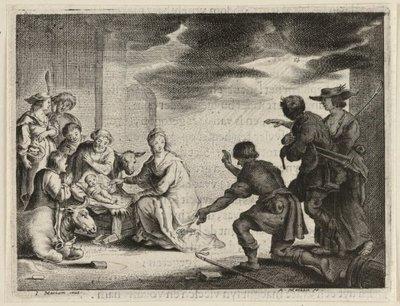 Aanbidding door de herders (Luca 2:8-16). <br> Illustratie uit Jacob Cats, Trouringh uitgegeven door Hendrick van Esch, Dordrecht 1637. <br> Ets door Adriaen Matham           naar ontwerptekening van Jan Matham; gesigneerd...