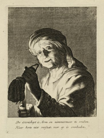 Allegorische voorstelling met een oude vrouw die een stokbeurs en brandende kaars vasthoudt .<br> Gravure en ets naar ontwerptekening van Abraham Bloemaert, uitgegeven door           Gerard Valck, met Nederlands gedicht,...
