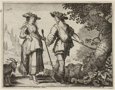 Man en een vrouw verkleed als herder en herderinnetje. <br> Illustratie uit Jacob Cats, Trouringh uitgegeven door Hendrick van Esch, Dordrecht 1637. <br> Gravure door           Adriaen Matham naar ontwerptekening van Jan...
