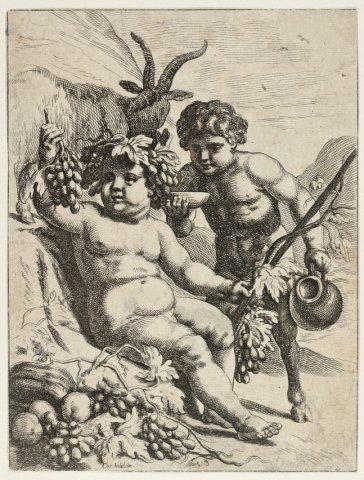Bacchus. <br> Ets door Cornelis Holsteyn naar eigen ontwerptekening; gesigneerd.; NL-HlmNHA_1477_53008659; Voorhelm Schneevoogt NL-HlmNHA_1477_53008659