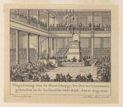 Gezicht op de zaal waar de leden van de Maatschappij tot Nut van' t Algemeen vergaderen.; NL-HlmNHA_480_000387_K; Provinciale Atlas - Historieprenten NL-HlmNHA_480_000387_K