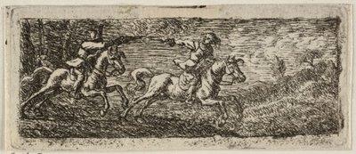 Ruitergevecht. <br> Landschap met twee ruiters die elkaar met pistolen beschieten. <br> Ets door Pieter van Laer.; NL-HlmNHA_1477_53009547<br>NL-HlmNHA_1477_53009548; Voorhelm Schneevoogt...