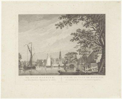 <i>De stad Haerlem, van het Zuider Spaarne te zien.<i/><br>Kopergravure naar A. Claterbos.; NL-HlmNHA_53001746_M; Kennemerland NL-HlmNHA_53001746_M