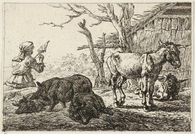 Spinnende vrouw, zwijnen en ezels. <br> Prent uit een achtdelige serie met voorstellingen van verschillende dieren. <br> Ets door Pieter van Laer.; NL-HlmNHA_1477_53009535; Voorhelm Schneevoogt NL-HlmNHA_1477_53009535