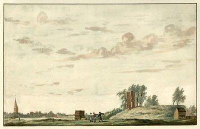 <br>Croonenburg(ruïne), met gezicht op het dorp<br>Aquarel<br>; NL-HlmNHA_53004550_K; Kennemerland NL-HlmNHA_53004550_K
