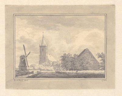 Gezicht op Hoogwoud met de kerk op de achtergrond. Op de voorgrond rechts een man met een zeis. 1 topogr. tek.: pen en penseel in zwart en grijs over schets in grafiet verso r.o.:           D v d Burg 1753; recto l.o.: D v...