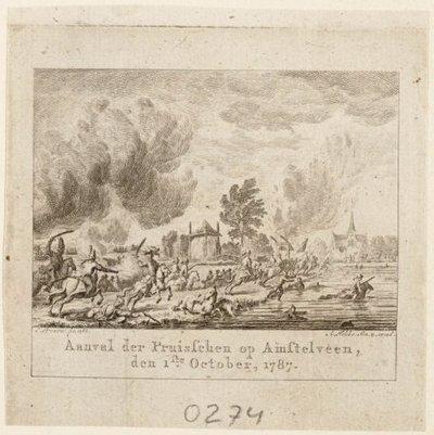 Afbeelding van Pruissische soldaten die een aanval uitvoeren op Amstelveen. Links op de voorgrond gaan zij zowel over land als door het water richting het dorp uit. Rechts op de           achtergrond de contouren van...