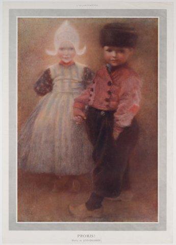 Twee kinderen in Volendams kostuum reproductie; NL-HlmNHA_480_001293_G; Provinciale Atlas - Historieprenten NL-HlmNHA_480_001293_G