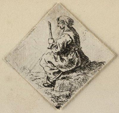 Image from object titled Een zittende vrouw met hoofddoek, in haar handen een stok. <br> Ets door Pieter van Laer.; NL-HlmNHA_1477_53009550; Voorhelm Schneevoogt NL-HlmNHA_1477_53009550