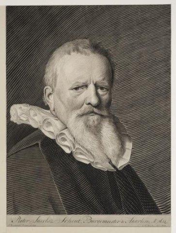 Pieter Jacobsz Schout, Burgemeester te Haarlem, Ao: 1614 / [door] C.v.Noorde ; J.Verspronck. - 1777 ; 1647. - 1 tekening op papier naar schilderij : pen en penseel in zwart en           grijs ; 49,8 x 37,3 cm.;...