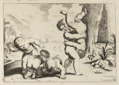 Stoeiende kinderen. <br> Een kind tilt een ander kind ondersteboven op. Het kind rechts slaat een ander kind op de billen. <br> Vierde prent uit een genummerde           prentenserie met kinderspelen. <br> Gravure door...