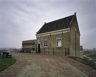 Image from object titled Voorgevel met rondboogvensters van de voormalige synagoge te Sliedrecht