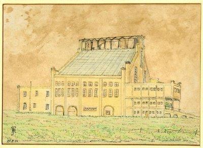 Image from object titled Gezicht op glasfabriek De Bataaf gelegen aan de Schie: Op het terrein ten zuiden van het Huis te Riviere werd in 1913 de glasfabriek De Bataaf gesticht op initiatief van een           aantal...