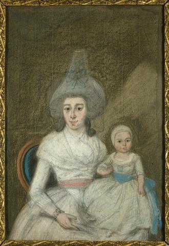 Portret van Anna Catharina Pichot (1767-1793) met haar zoon Daniël François Willem Pietermaat (1790-1848), echtgenote van Daniël Pietermaat (1790-1848) . Pasteltekening           vervaardigd door Rienk Jelgerhuis in c....