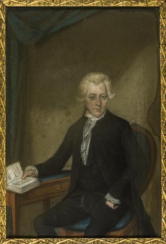 """Portret van mr. Daniël Pietermaat (1759-1822), echtgenoot van Anna Catharina Pichot (1767-1793). Pasteltekening door R. Jelgerhuis, z.d. Foto door Henk Platenburg           RKD.; Zie """"Honderd Schiedamse Families"""",..."""