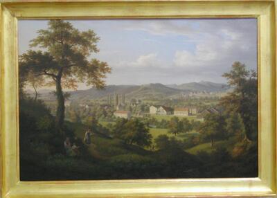 Image from object titled Malerei   Füllinsdorf. Industriesiedlung Nieder-Schönthal von Osten
