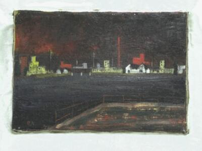 Image from object titled Malerei | Wiesenmündung / Industrie am Rhein