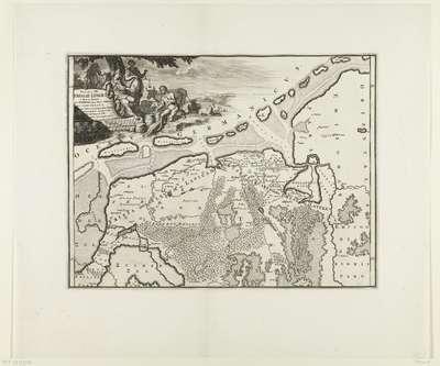 Historische kaart van Nederland met de gebieden van de Bataven en Friezen; Pars II et III Frisiae Liberae a Flevo in Lavicam
