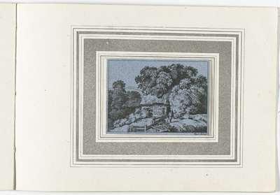 Landschap met man met een wandelstok; Landschappen naar Kobell; 120 Radierungen nach F. Kobell