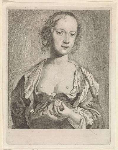 Vrouw met blote borsten en een munt