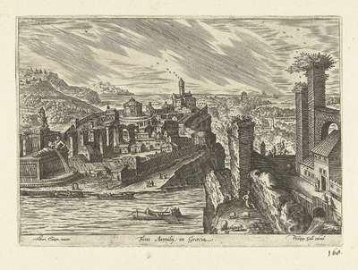 Gezicht op een bron van een onbekende rivier in Griekenland; Fons Aemilij in Graecia; Ruinarum varii prospectus