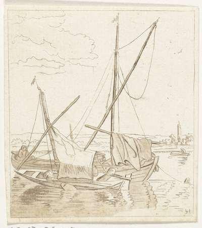 Twee zeilschepen in een rivier