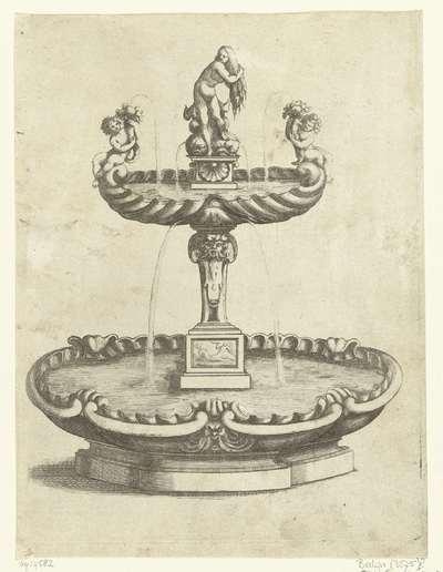 Fontein met waterbassin op hoog voetstuk; Fontaines Et Iets D'Eau (....)