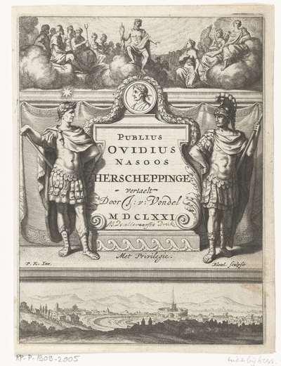 Titelpagina voor J. van Vondels vertaling van P.O. Naso, Herscheppinge, Amsterdam 1671
