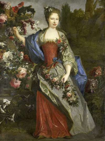 Image from object titled Portrait of a Woman, according to tradition Marie Louise Elisabeth d'Orléans (1695-1719), Duchesse de Berry, as Flora