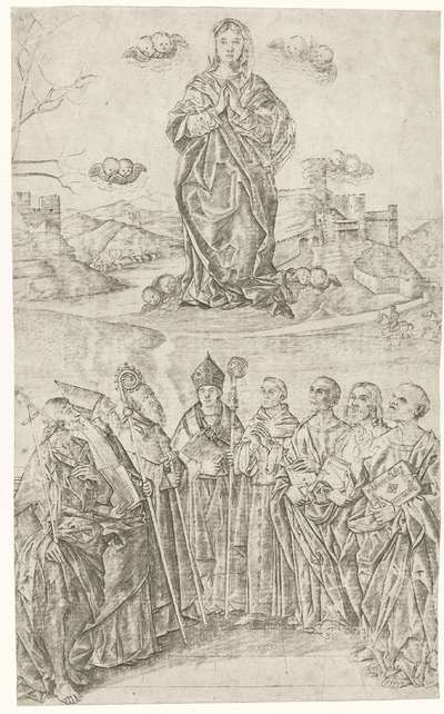 Verheerlijking van Maria met acht heiligen waaronder Johannes de Doper en Antonius de Grote en Franciscus van Assisi