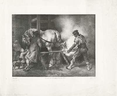 Vlaamse hoefsmid; Le Maréchal Flamand; Verschillende studies van paarden; Etudes de chevaux