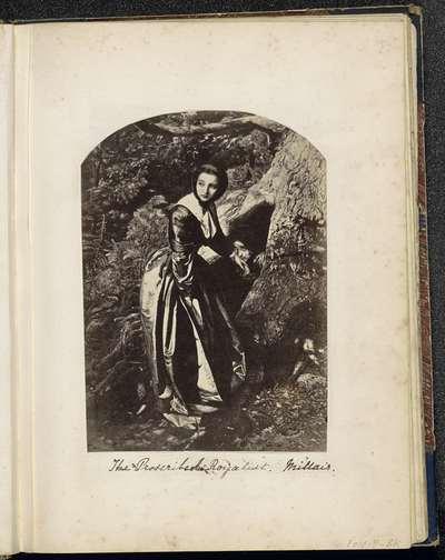 Fotoreproductie van een prent naar een schilderij van John Everett Millais; The Proscribed Royalist. Millais.