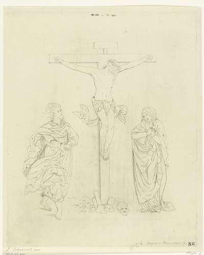 Christus aan het kruis tussen Johannes en Maria