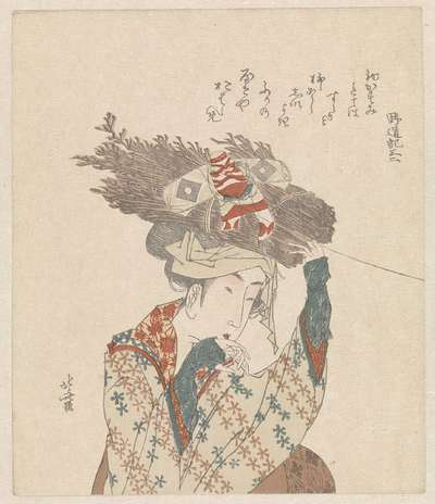 Vrouw met bundel twijgen en vlieger