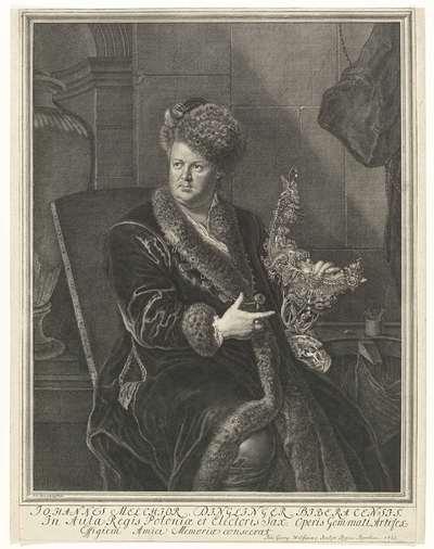 Portret van goudsmid Johann Melchior Dinglinger