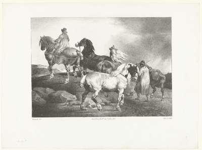 Paarden op weg naar de markt; Chevaux conduits à la foire; Verschillende studies van paarden; Etudes de chevaux
