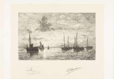 Visschersschepen op zee bij opgaande zon