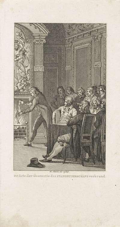 Van Laar verbrandt de Acte van Garantie, 1795; De Acte der Guarantie des Stadhouderschps verbrand