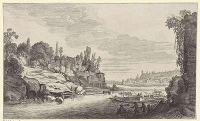 Bedrijvigheid in een rivierlandschap; Landschappen naar Pieter de Molijn