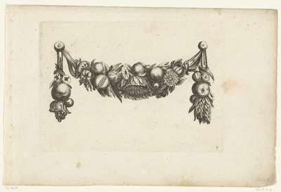 Image from object titled Festoen met een grote bloem in het midden die naar beneden hangt; Verscheide Nieuwe Festonnen