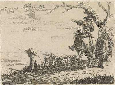 Drie jagers met honden