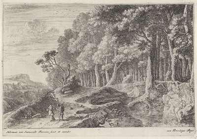 Wandelaars bij een beek; Twaalf landschappen