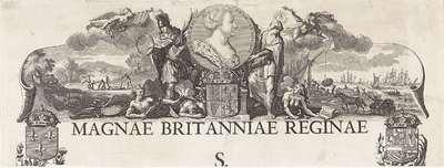 Bovenste fragment van een allegorie ter ere van koningin Anna in het bereiken van de Vrede van Utrecht, 1713; Magnae Britanniae Reginae S (...)