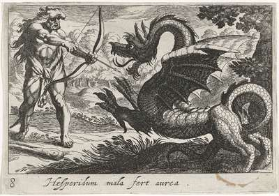 Hercules doodt de draak Ladon; Hesperidum mala fert aurea; Herculische thema's