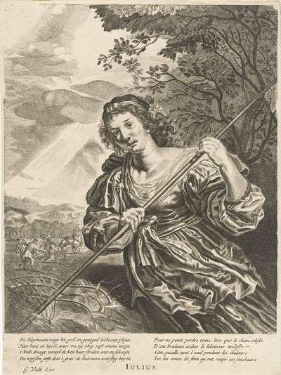 Juli: een oogstende vrouw; Iulius; De twaalf maanden