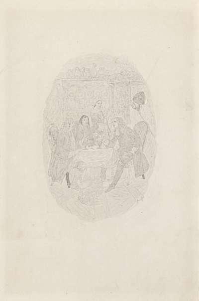 Drie mannen aan een tafel